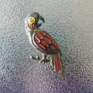 Vintage 60s Novelty Toy Prize Plastic Parrot Pin Brooch