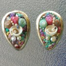 Vintage 50s Colored Mini Seashells Rhinestones Pearls Tropical Artsy Clip On Earrings