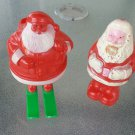 Vintage 50s Plastic Santa Claus on Skis Candy Holder & Santa Figure Christmas Collectibles set of 2