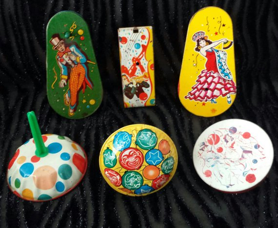 Antique 1940s 1950s Tin Litho Noisemakers New Years Party Clankers Lot of 6