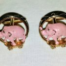MEN'S Vintage 50s Swanky Pink Elephant Cufflinks Signed SWANK