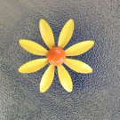 Vintage 60s Sunny Yellow Metal Painted Enamel MOD Flower-Power Pin Brooch