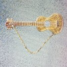 Vintage 1950s 1960s Napier Signed Gold tone Acoustic Guitar Eyeglass Holder Pin Brooch