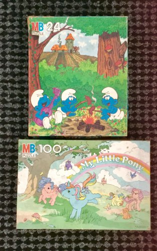 Vintage 80s MY LITTLE PONY & SMURFS Milton Bradley Puzzles (Lot of 2) w/boxes