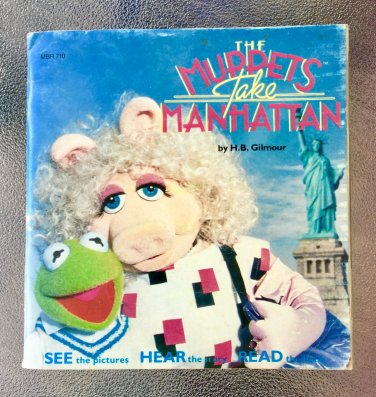 Vintage 80s The Muppets Take Manhattan Children's Talking storybook Book and Record 1984