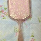 Vintage 60s Pink Plastic w Gold Stencil Handheld Vanity Mirror