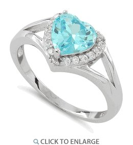 Sterling Silver Heart Shape Blue Topaz CZ Ring