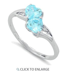 Sterling Silver Double Heart Blue Topaz CZ Ring