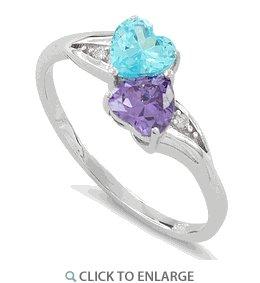 Sterling Silver Double Heart Amethyst & Blue Topaz CZ Ring