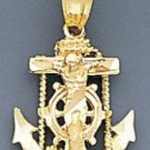 10k Gold Diamond Cut Jesus Cross And Anchor Pendant 59mX50m