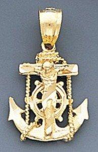 10k Gold Diamond Cut Jesus Cross And Anchor Pendant 59mX50m