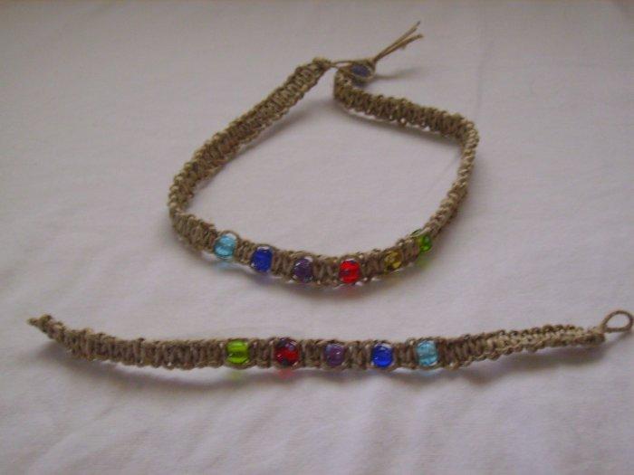 Multiclored Hemp Jewelry set