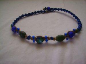 Blue Spiral Hemp Necklace