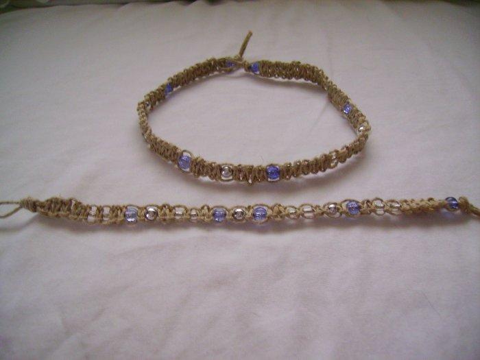 Purple Hemp Jewelry Set