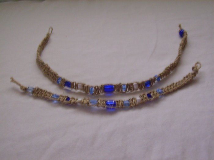 Blue and White Hemp Jewelry set