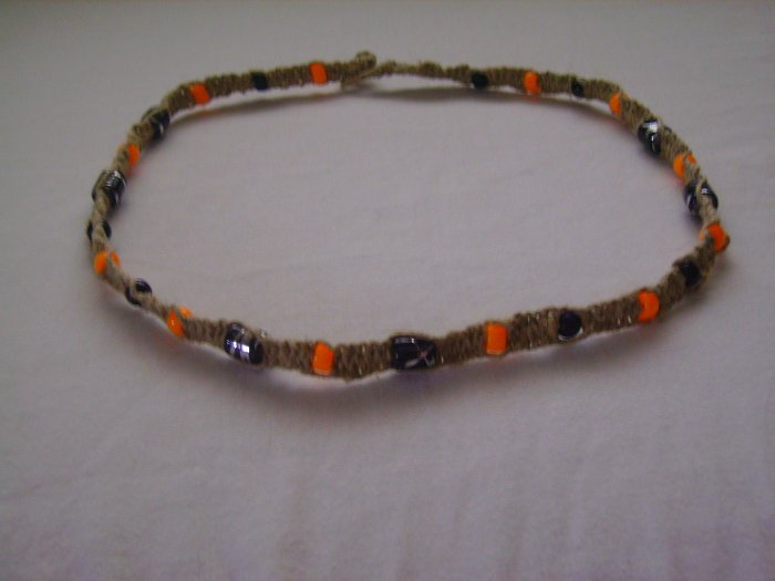 Black and Orange Hemp Necklace