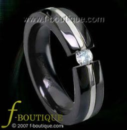 Black Titanium Tension Band with 3 mm. CZ - ring size 4.5, 5, 5.5, 6, 6.5, 7, 7.5, 8, 8.5, 9