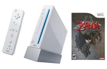 Nintendo Wii Console + The Legend Of Zelda:Twilight Princess Bundle