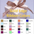 "Personalized Favor Ribbons - Gold Edge - Width:3/8"" Length:12"" (Qty 25)"