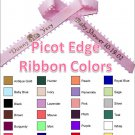"Personalized Favor Ribbons - Picot Edge - Width:3/8"" Length:12"" (Qty 25)"