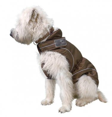 "On Sale: (XL) Warm Dog Coat w/ Fleece Lining, 21-1/4"", Brown by DogBite"