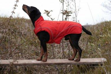 "On Sale: (S/M) Warm Dog Winter Jacket w/ Fleece Lining, 13-3/4"" Red"
