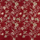 Burgundy Ivory Green Suede Upholstery Fabric By The Yard Embroidered Floral Vines Pattern #: B100