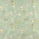 Light Green Ivory Gold Suede Upholstery Fabric By The Yard Embroidered Floral Vines Pattern #: B102