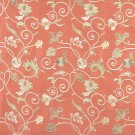 Persimmon Green Gold Ivory Suede Upholstery Fabric By The Yard Embroidered Floral Vines Pattern B103