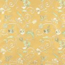 Gold Ivory Green Suede Upholstery Fabric By The Yard | Embroidered Floral Vines | Pattern #: B104