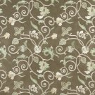 Green Ivory Gold Suede Upholstery Fabric By The Yard | Embroidered Floral Vines | Pattern #: B106