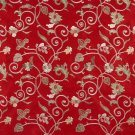 Red Green Ivory Suede Upholstery Fabric By The Yard | Embroidered Floral Vines | Pattern #: B107