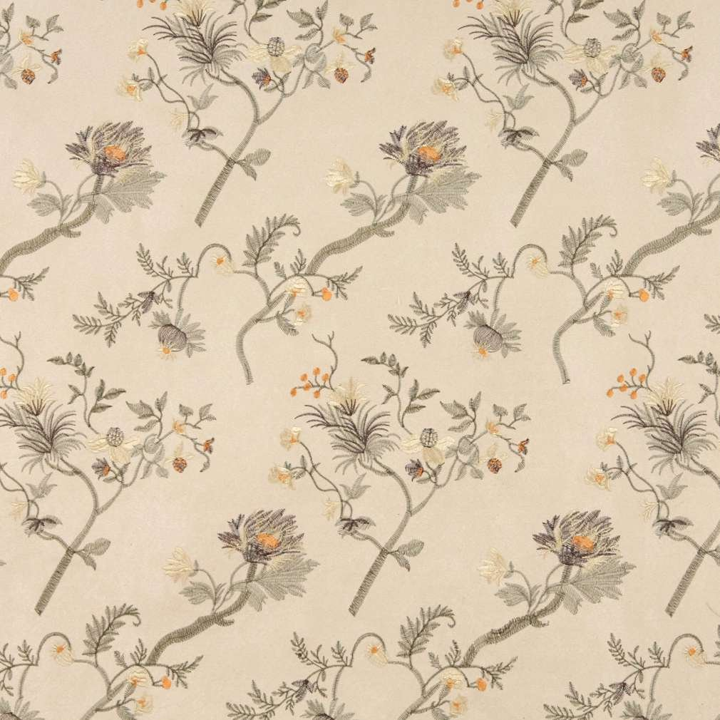 Beige green brown orange suede upholstery fabric by the