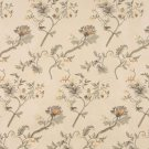 Beige Green Brown Orange Suede Upholstery Fabric By The Yard Embroidered Floral Leaves Pattern B117