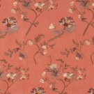 Persimmon Green Brown Orange Suede Upholstery Fabric By The Yard Floral Leaves Pattern B119