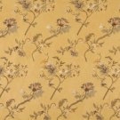 Gold Green Ivory Brown Suede Upholstery Fabric By The Yard Embroidered Floral Leaves Pattern B120