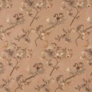 Green Brown Ivory Suede Upholstery Fabric By The Yard Embroidered Floral Leaves Pattern B121