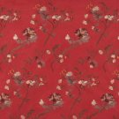 Red Green Ivory Brown Suede Upholstery Fabric By The Yard Embroidered Floral Leaves Pattern B123