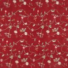 Red Green Ivory Suede Upholstery Fabric By The Yard   Embroidered Floral Vines   Pattern #: B140