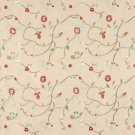 Beige Red Green Ivory Suede Upholstery Fabric By The Yard Embroidered Floral Vines Pattern #: B141