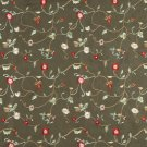 Green Ivory Red Beige Suede Upholstery Fabric By The Yard Embroidered Floral Vines Pattern #: B146