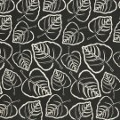 """54"""""""" D651 Black, Leafy Scotchgarded Outdoor Indoor Marine Fabric By The Yard"""