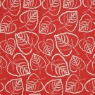 """54"""""""" D652 Red, Leafy Scotchgarded Outdoor Indoor Marine Fabric By The Yard"""