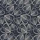 "54"""" D655 Dark Blue, Leafy Scotchgarded Outdoor Indoor Marine Fabric By The Yard"
