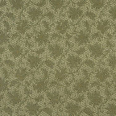"""54"""""""" E507 Green, Floral Jacquard Woven Upholstery Grade Fabric By The Yard"""