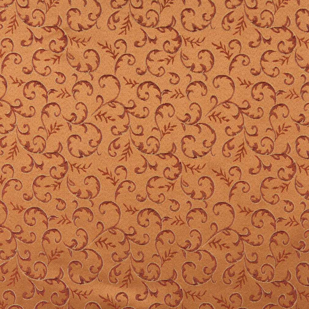 54 E645 Abstract Floral Orange Red Gold Damask