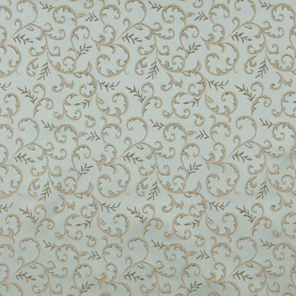 54 E647 Abstract Floral Light Blue Gold Damask