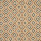 J746 Southwest Style Diamond Upholstery Fabric | Beige Salmon Blue Upholstery Fabric By The Yard