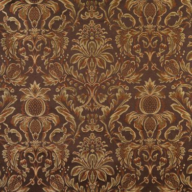 F551 Brown Bronze Gold Ivory Floral Pineapple Damask Upholstery Drapery Grade Fabric By The Yard
