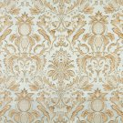 F554 Light Blue Ivory Green Gold Floral Pineapple Damask Upholstery Drapery Grade Fabric By The Yard